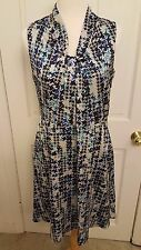 Designer Karl Lagerfeld Multicolor Blue Floral Sleeveless Runway Dress Size 8