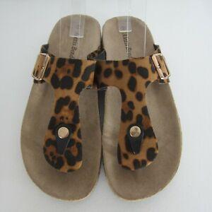New Alexis Bendel Womens 9 Kylie Animal Print Slide Thong Sandals Buckles