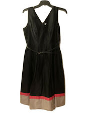 Calvin Klein Coctail Dress Calf Length Black Sleevless Fit And Flair Pink 12