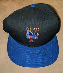 EDGARDO ALFONZO Fleer Legacy NEW YORK METS Signed New Era Hat COA Auto Piazza