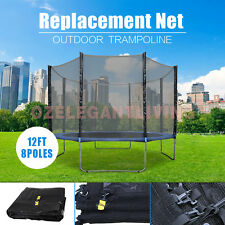 BRAND NEW 12FT Trampoline Replacement Enclosure Safety Net 8 poles AU (NET ONLY)
