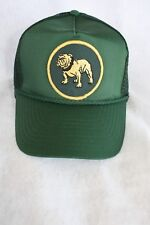 HAT MACK TRUCK BULL DOG ROUND GOLD PATCH ADJUSTABLE SNAP SIZING COLOR DARK GREEN
