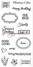 FRISKARS Clear Stamps SIMPLE EXPRESSIONS You're Invited, Thank You, Good Luck