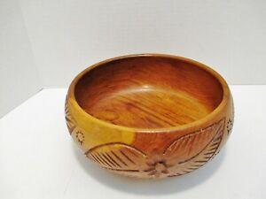 "Wood Serving Bowl Hand Carved Floral Leaf Pattern 9"" diameter x 4"" tall"
