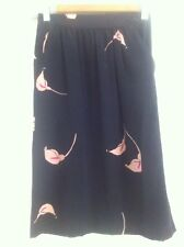 Ladies Black DISEGNI Flora Kung Skirt Size XS 6-8 Silk Floral Lily  Mid Length