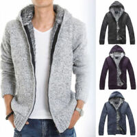Mens Cardigan Sweater Fur Wool Lining Fleece Hoodie Knitted Jacket Hooded Coat