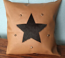 Hair on cowhide and leather star pillow