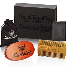 Luxuriöses Bartpflege-Set Oval Bartbürste Wildschweinborsten Bartkamm Sandelholz