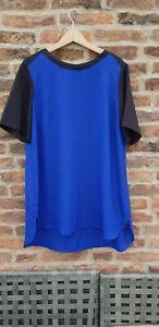 💙🖤 LABEL BE Colour Block Tunic Top Blouse Black Royal Blue Plus Size 18 Simply