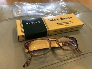 Vintage New Old Stock Titmus Optical USA Safety Eyewear Glasses Brown Horizon ++