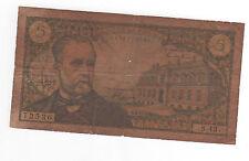 Billet 5 francs Pasteur 1966 TB-