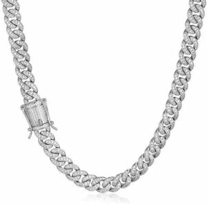 Men's 8mm White Gold Over Stainless Steel Iced Miami Cuban Link Chain Necklace
