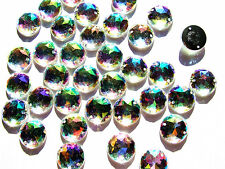 60 AB Coated Acylic Beads Rhinestone Gems 15 mm Round Faceted Flatback Stich On