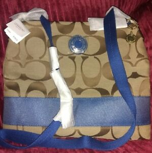 AuthCoach💥Factory Wrapped💥Khaki/ Cobalt SIS File Lrg Swingpack Bag+Spec Gift🎀