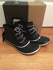 NWT Women's 9.5 Sorel For J Crew Out N About Leather Boots Black #F7300