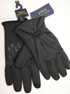 NWT $68 RALPH LAUREN Size XL Men's Black TOUCH COMPATIBLE Performance Gloves