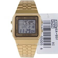 CASIO MEN'S GOLD TONE WORLD TIME A500WGA-9D STAINLES STEEL WATCH