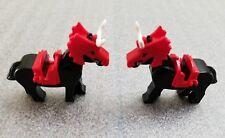 LEGO Black Horses - Castle Medieval Knights  Saddle Battle Helmet Horns Lot of 2