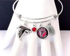 Atlanta Falcons NFL Glass Logo Charm Silver Bangle Football Bracelet