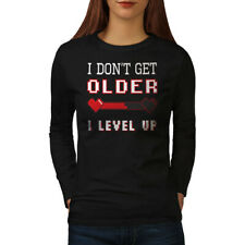 Wellcoda Level Up Age Womens Long Sleeve T-shirt, Funny Grow Old Casual Design