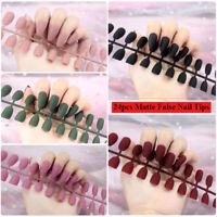 24Pcs Full Cover Matte False Nail Tips Stiletto Coffin Artificial Fake Nails