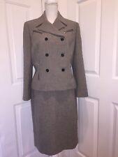 Le Suit Skirt Set Grey Black Zippers 10p 10 Petite