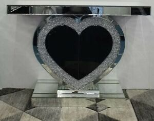 XL Mirrored Crushed Crystal Diamond Heart Console Side Table Stand Sideboard
