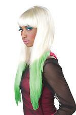 Long Nicky Minaj Color Dipped Two Tone Blonde Green Rap Hip Hop Costume Wig