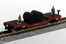 N SCALE   DEPRESSED FLAT METAL  CAR  WITH  FIGURES ATSF  CABLE CAR SF # 4110