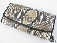 PELGIO New Genuine Python Snake Skin Leather Trifold Clutch Wallet Purse Natural