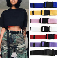 New Canvas Waist Belt Women Casual Female Long Belts Plastic Buckle Harajuku