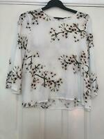 Vero Moda White Shirt Size Large Womens 3/4 Sleeve Great Condition (F11)