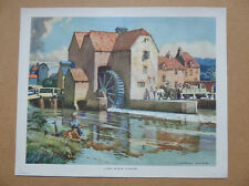 Vintage 1940s UK Macmillan History Geography Print WATER MILL IN RURAL ENGLAND