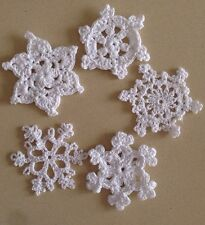 Five White Hand Crochet Christmas Decorations  Very Quick Delivery