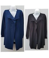 New Ex M&S Womens Open Front Long Line Cardigan. S M L XL Black Navy RRP £29.00