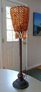 Orange & Yellow Beaded Dangling Prisms Shade Metal Base Ribbed Glass Table Lamp