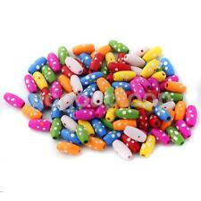 100 Cute Multi Wooden Barrel Beads Charms for KIDS DIY TOYS Jewelry Findings