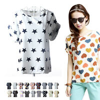 Summer Fashion Women Casual Short Sleeve Loose Chiffon T-shirt Tops Shirt Blouse