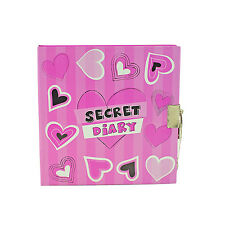 A5 Hearts Secret Diary Notebook Girls Code Diaries Lockable Padlock Journal
