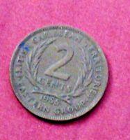 Barbados 2 cent 1955 British Caribbean Territories Eastern Group Queen Elizabeth