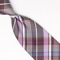Josiah France Mens Silk Necktie Gray Lavender White Plaid Check Weave Tie Italy
