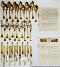 1820 Sterling Silver French Royalty Gilded Flatware Set Service For 12