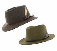 Curzon Classics Kent 100% Wool Crushable/Water Repellent Fedora Made in Italy