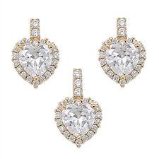 Silver Pendant & Stud Earrings Heart Shape CZ Gems Yellow Gold Plated Sterling