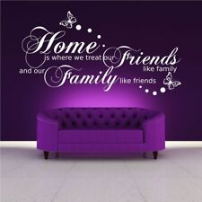FAMILY FRIENDS HOME QUOTE WALL ART STICKER TRANSFER DECAL MURAL BEDROOM WSD483