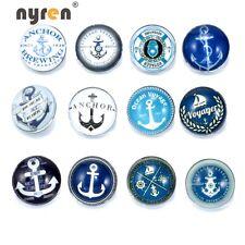 12pcs/lot  Anchor Charm 18mm Chunk Snap Button Fit Bracelet Snaps Jewelry KZ0178