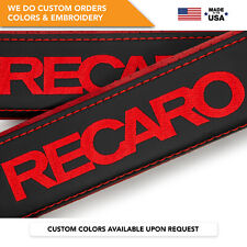 Seat Belt Covers Shoulder Strap Leather Pads Custom Made Fits Recaro Red 2Pcs