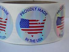PROUDLY MADE in the USA Flag 1.75 Sticker Label holographic prism circle 250/rl