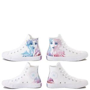 NEW Converse  Frozen 2 Chuck Taylor All Star Hi Anna Elsa Sneaker White, Women 7