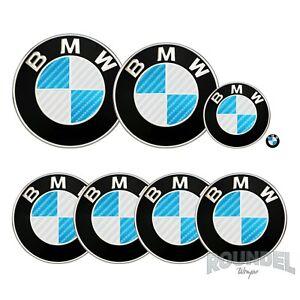 For BMW Badge Gloss Carbon Fibre White & Light Blue All Models Decals Fiber